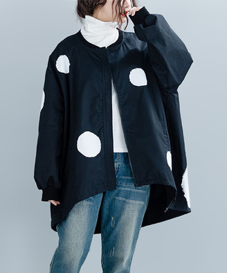 Belle de Jour Women's Non-Denim Casual Jackets Black - Black Polka Dot Hi-Low Linen-Blend Swing Coat - Women