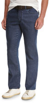 Brioni Dark-Wash Stretch-Denim Jeans, Blue