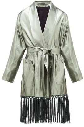 BLAZÉ MILANO Whistler Oversized Silk-blend Lame Robe Dress - Green