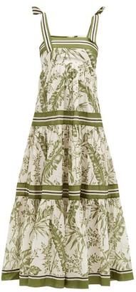 Zimmermann Empire Botanical-print Cotton-poplin Midi Dress - Green Print