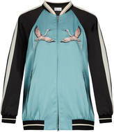 RED Valentino Embroidered contrast-sleeve satin bomber jacket
