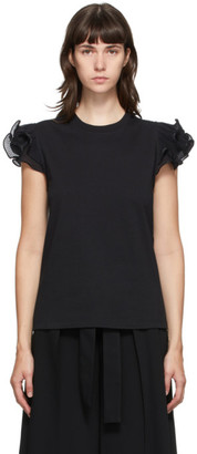 See by Chloe Black Frill T-Shirt