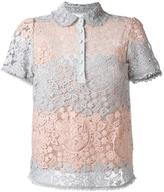 RED Valentino shortsleeved macramé polo top - women - Silk/Cotton/Polyester - 40