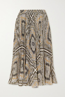 MICHAEL Michael Kors Medallion Pleated Printed Chiffon Midi Skirt - Brown
