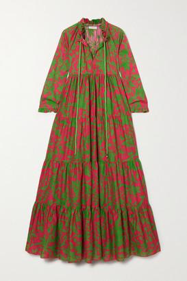 Eywasouls Malibu Cora Tiered Floral-print Cotton-voile Maxi Dress - Pink