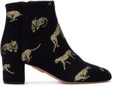 Aquazzura Brooklyn big cat jacquard boots - women - Cotton/Leather - 35
