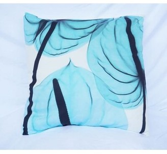 """East Urban Home Leaves Cotton Floral Throw Pillow Color: Blue, Size: 18"""" x 18"""""""