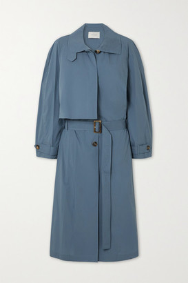 Low Classic Pleated Cotton-blend Trench Coat - Blue