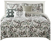 Serenta Ravello Scroll Printed Quilted 6 Piece Bed Spread Set, Teal /