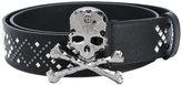 Philipp Plein skull and crossbones belt - women - Leather - 85
