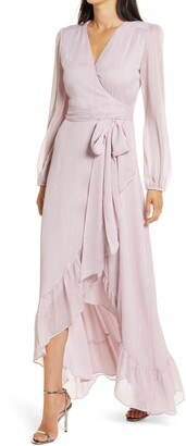 WAYF The Meryl Long Sleeve Metallic Chiffon Wrap Gown