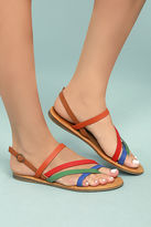 Bamboo Kalene Orange Multi Flat Sandals