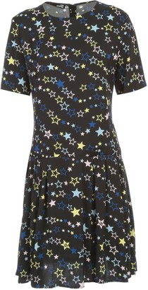 Love Moschino Dress S/s Crew Neck Stars Printing W/flounce