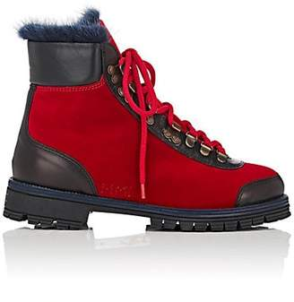 Mr & Mrs Italy Women's Fur-Lined Velvet & Leather Ankle Boots - Red