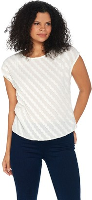Vince Camuto Cap-Sleeve Clipped Scallop Stripe Blouse