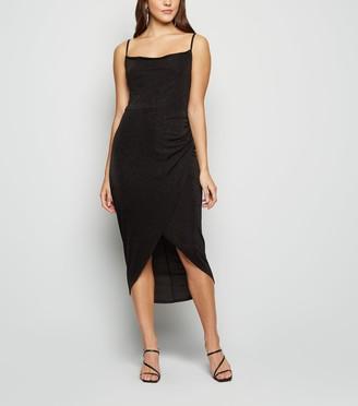 New Look Glitter Cowl Neck Midi Dress