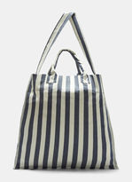 Sunnei Large Striped Canvas Tote Bag in Blue and White