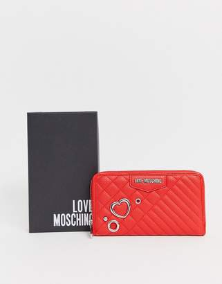 Love Moschino heart stud faux leather large zip purse-Red