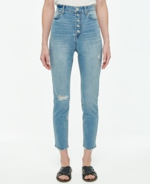 Vanilla Star Juniors' Exposed Button-Fly High Rise Skinny Jeans