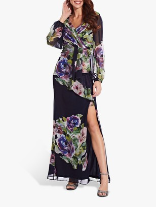 Adrianna Papell Floral Chiffon Dress, Navy/Multi