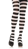 Leg Avenue Black & White Stripe Tights