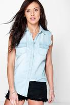 Boohoo Angela Light Wash Sleeveless Denim Shirt