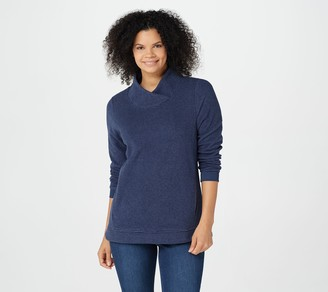 Denim & Co. Regular Chenille Fleece Tunic with Crossover Neck