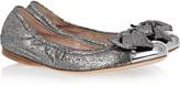 Miu Miu Cracked metallic-leather ballet flats