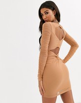 Parallel Lines bodycon dress with ruched detail