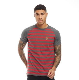 Luke 1977 Mens Raglan T-Shirt Charcoal/Chilli Red