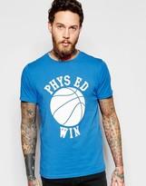 Edwin T-Shirt Phys Ed Win Print in Royal Blue