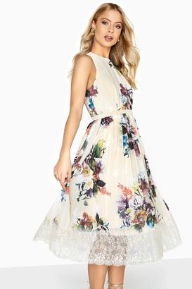 Little Mistress Ava Floral Lace Hem Midi Dress