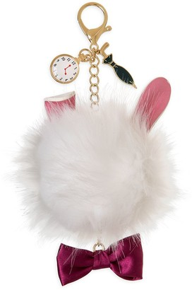 Disney White Rabbit Fuzzy Bag Charm Alice in Wonderland Oh My