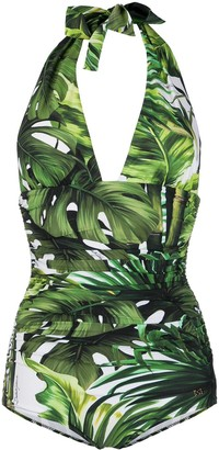 Dolce & Gabbana Jungle Print One-Piece Swimsuit
