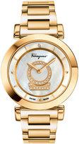 Salvatore Ferragamo 37mm Minuetto Bracelet Watch w/ Diamonds, White