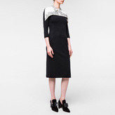 Paul Smith Women's Black Wool Dress With Embroidered White Yoke