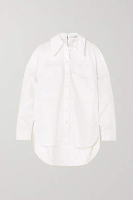 Tibi Zip-embellished Organic Cotton-poplin Shirt - White