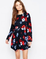 Yumi Long Sleeve Skater Dress In Dark Floral