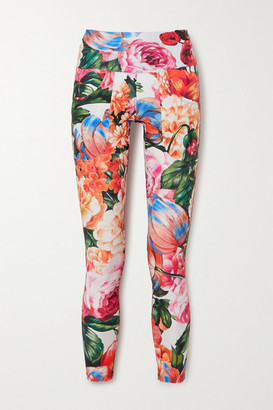 Twin Fantasy Floral-print Stretch Leggings - Red