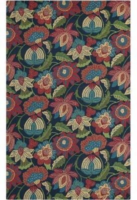 """Company C Tasha Floral Handmade Hooked Wool Teal/Red/Green Area Rug CompanyC Rug Size: Runner 2'6"""" x 8'"""