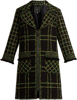 Andrew Gn Checked fringe-trimmed fil coupé cotton-blend coat