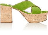 Prada Women's Piped Suede Platform Slide Sandals-GREEN