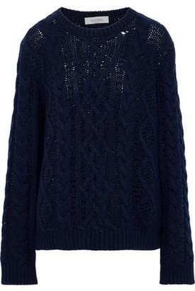 Valentino Crystal-embellished Cable-knit Wool And Cashmere-blend Sweater
