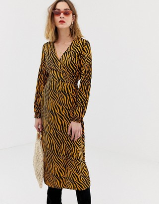 Pieces zebra print wrap midi dress