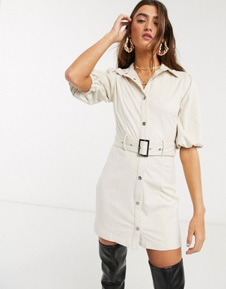 Bershka faux suede shirt dress in ecru
