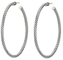 David Yurman Sterling Silver Cable Large Hoop Earrings