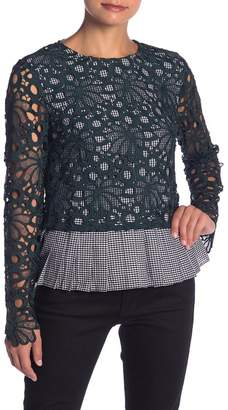ENGLISH FACTORY Gingham Lace Overlay Top