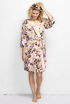Classic Women's Petite 3/4 Sleeve Printed Rayon Robe-Pink Petal Floral