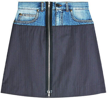 Maison Margiela Pinstriped Skirt with Denim Waistband