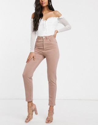 ASOS DESIGN Farleigh high waist slim mom jeans in dusty pink